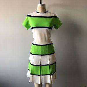 Vintage 70's Elastic Bandage Green Beige Dress